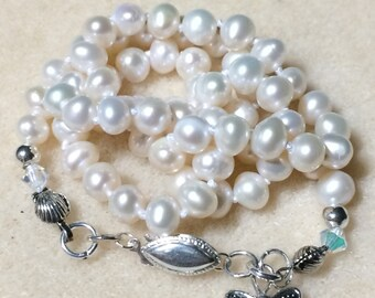 Dainty Pearl Necklace 5.5MM, 17.25 Inch Freshwater Cultured Pearls  With Sterling Findings And Swarovski Crystal AB Beads