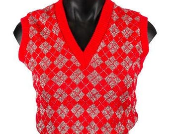 Vintage Red and Silver Lurex Sleeveless Vest