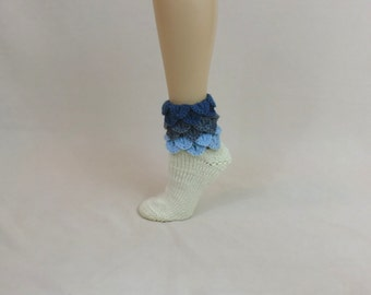 Slouch Socks - Blue Ombre House Slippers - Dragon Scale Slouchy Slipper Socks - Crocodile Stitch Bed Socks - Casual Fun Sleep Socks