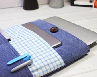 Macbook Pro case, 15 inch laptop case, Macbook sleeve 15, gingham laptop case, Pro Retina sleeve, blue Macbook case, womens laptop case