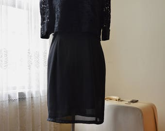 Vintage 90s Black lace mini dress