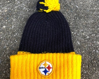 Vintage 70s 80s Pittsburgh Steelers Football Pom Pom Knit Winter Ski Hat Cap Beanie Toque Tassle NY NFL Throwback