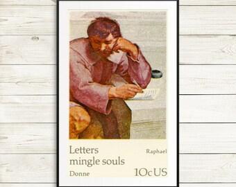 Raphael art print, Raphael postage stamp, US postage stamps, postage stamp art, stamp art set, Letters Mingle Souls, half-tone poster, arts