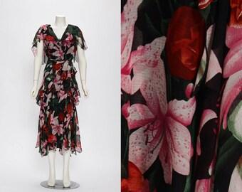 Holly Harp for Henri Bendel silk floral maxi dress vintage 1970s • Revival Vintage Boutique