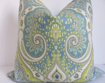 Latika Green Blue Pillow Cover, Kravet Pillow Cover, Designer Pillow, Light Blue Pillow Cover, Accent Pillow Cover, Latika Pillow