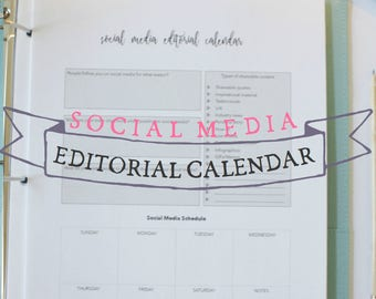 Social Media Editorial Calendar - Editorial calendar - blog planning sheet - blog planner