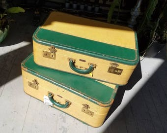Vintage luggage Mid century modern suitcase  luggage yellow lemon green vintage luggage