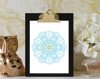 Mandala Print, Meditation Art, Blue Green Boho Art, Bohemian Home Decor, Office Art, Modern Wall Art Prints, Zen Print, Yoga Studio Decor