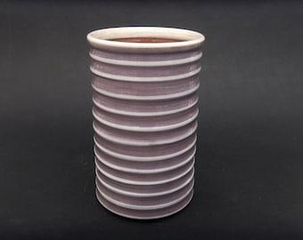 Pottery Wine Chiller - Wine Lover Holiday Gift - Striped Lilac and White Wine Chiller - Handmade Ceramic Utensil Holder