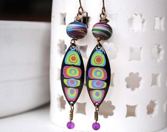 Funky Earrings, Colorful Earrings, Long Earrings, Spotted Earrings, Purple Earrings, Abstract Earrings, Pebeo Jewelry, Hand Painted