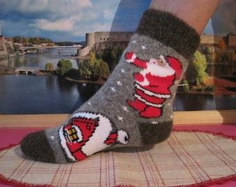 "Discount/Nordic Women Beautiful knitted quality Angora wool yarn socks with knit pattern ""Fairytale"" EU-38-40/ US- 8-9 Soft Warm Comfortable"