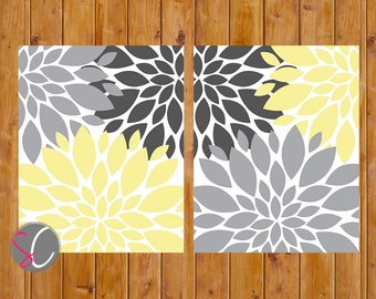 Floral Flower Burst Gray Yellow Set of 2 Wall Art Baby Nursery Bedroom Bathroom Livingroom Decor 5x7 JPG Files Printable