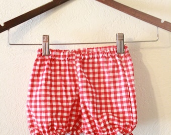 Red Gingham Baby Bloomers/ Baby Shorts/ Diaper Cover/ Baby Bloomer/ Baby Girl Bloomers/ Toddler Bloomers/ Photo Prop/ Diaper Covers