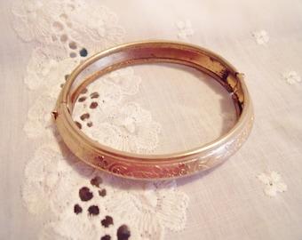 Vintage Sarah Coventry Gold Bangle Bracelet, Etched Design