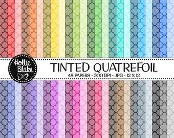 50% off SALE!! 48 Tinted Quatrefoil Digital Paper • Rainbow Digital Paper • Commercial Use • Instant Download • #QUATREFOIL-101-1-TINT