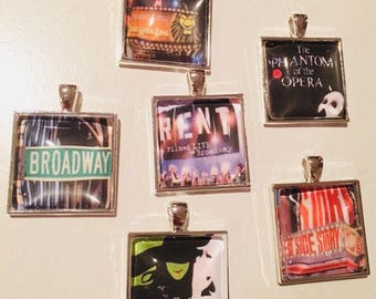 Broadway show wine glass charms featuring Wicked, Lion King, Phantom of the Opera, Rent, a perfect gift for the theater lover