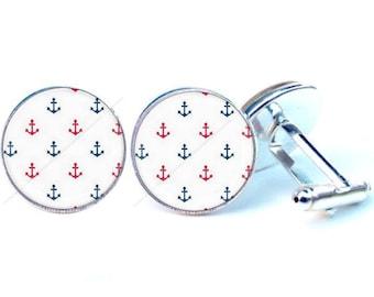 Glass cabochon cuff links - anchor - sailor