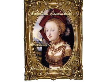 """Medieval Lady Framed Cotton Fabric Quilt Block (1) @ 5X7"""" on 8.5X11"""" Sheet"""