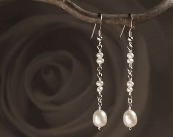 Dangle & Drop Pearl Earrings in Sterling Silver with Natural Freshwater Pearls - Long Pearl Earrings - 00137S - by allotria - MADE TO ORDER
