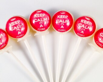 "6 ""It's a Girl!"" Baby Shower Hard Candy Lollipops"