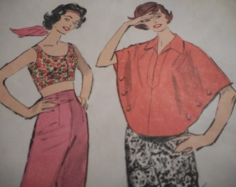 March Madness SALE Vintage 1950's Advance 9018 Poncho, Pants and Midriff Top Sewing Pattern Size 14 Bust 34