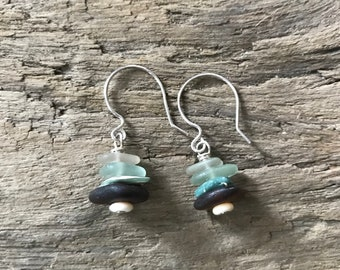 Small blue and brown cairn earrings