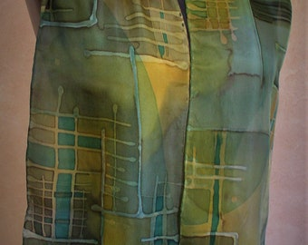 Hand painted silk Habotai scarf with layered color