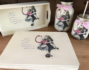 Alice in wonderland home decor, tray, 4 table mats , large kilner jar, small kilner jar.