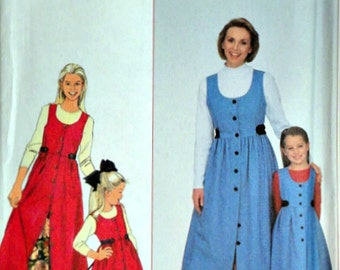 Simplicity 8292 Sewing Pattern, Girls' and Misses' Jumper and Petticoat, Mother/Daughter, Girl Sizes 3 to 8, Misses Sizes XS to XL Uncut FF