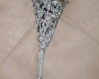 Vintage pewtertone metal Tussie Mussie Bouquet Holder