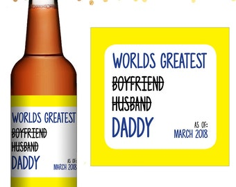 Reveal To Husband - Custom Beer Labels - Waterproof Labels - Personalized Beer Labels - Pregnancy Announcement - Pregnant Surprise