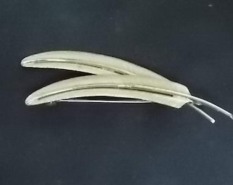 Womens Vintage Estate Sterling Silver Feather Brooch Pin 5.71g  #E1076