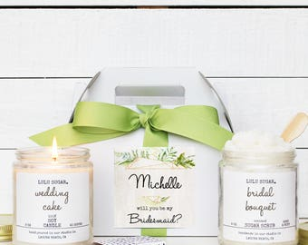 Bridesmaid Gift Set | Maid of Honor Gift Set | Personalized Bridesmaid Gift | Bridal Party Thank You Gift |  -  Crystal Label