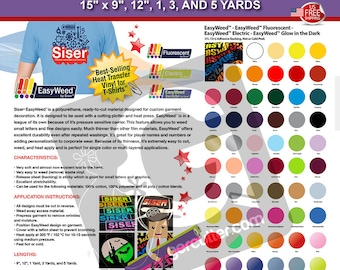 "Siser EasyWeed IRON-ON HTV Heat Transfer Vinyl 15"" x 9"", 12"", 1, 3, and 5 Yards ***Free Shipping***"