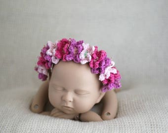 Flower Crown, Crochet Headband, Flower Girl, Crown, Head Piece, Floral Crown