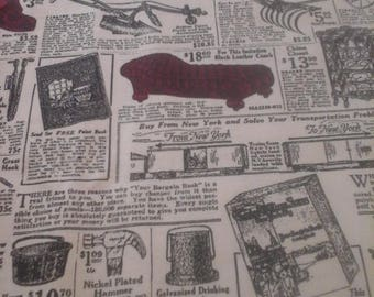 Newsprint Vintage Style Household  Fabric 1 Yard Cotton