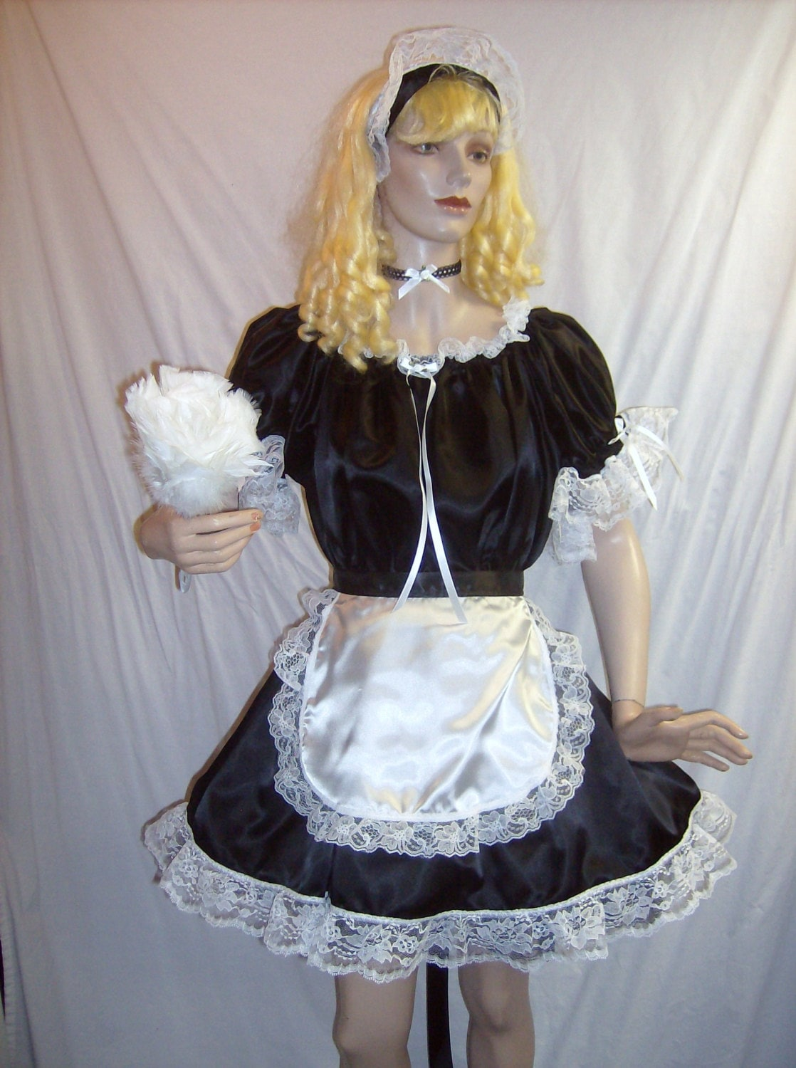 4Pc Adult Black Satin French Maid Costume Sexy Sissy Dress And-2493