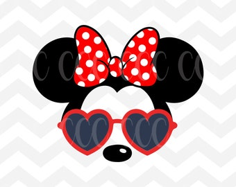 Minnie Mouse Heart Sunglasses SVG Cutting File