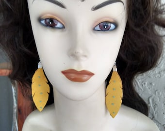 Native American Gold Deerskin Leather Feather Earrings WithTurquoise Beads