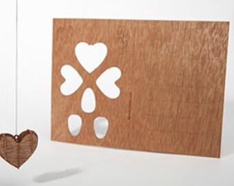 postcard wood - heart 3 cards