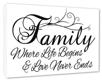 Family Wall Picture 'FAMILY Where Life Begins White Wall Canvas A1/A2/A3/A4