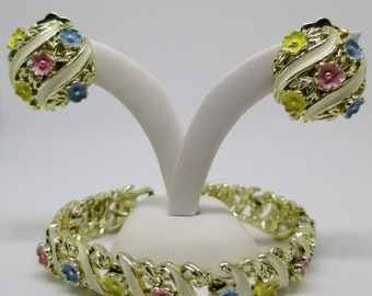 Mid Century Flowers Ribbons Bracelet Clip Earrings Set Pink Yellow Blue Flowers White Ribbons Gold Finish Set 1950's Fashion Jewelry