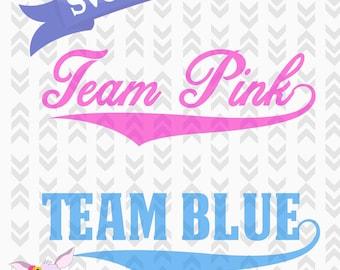 Team Pink Team Blue Gender Reveal SVG Cut Files - Baseball Gender Reveal Files - DXF, PNG, Svg, Cut Craft Files, Team Blue Team Pink Party