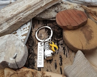 YE-3 Suicide Awareness Endometriosis FIGHTER Sarcoma Spina Bifida Keychain Boxing Glove Charm Personalized Gift For Him Gift For Her