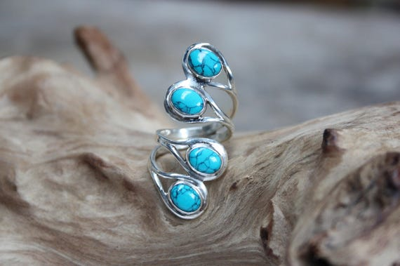 4 Stone Turquoise Ring - ADJUSTABLE - 925 Sterling Silver Ring - Statement Ring - Healing Crystal - Crystal Ring - Navajo - Valentines gift