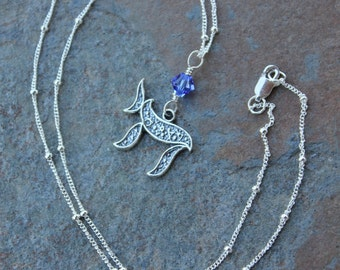 Life necklace - Silver chai symbol, sapphire blue Swarovski crystal or birthstone or pearl, sterling silver chain - free shipping in USA