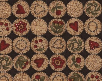 Country Circles Print Cotton Fabric / Heritage Square by Kathy Schmitz for Moda / 1 Yard