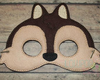 Chipmunk Felt Mask, Felt Mask, Dress Up Mask, Halloween Mask, Pretend Play, Woodland Animal Mask, Animal Mask, Kids Mask, Chipmunk Costume