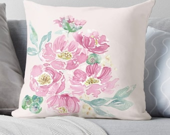 Blush Pink Pillow - Decorative Pillow, Floral Cushion Cover, Pink Peonies Pillow with Flower, pastel pink blooms, pink floral accent 18 x 18