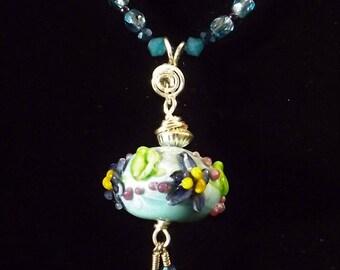 Bleu et ensemble collier et boucle d'oreille en argent